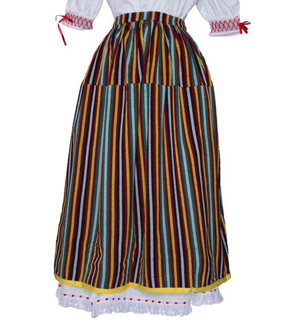 Falda Raya Orotava de raya roja para fiestas típicas regionales canarias