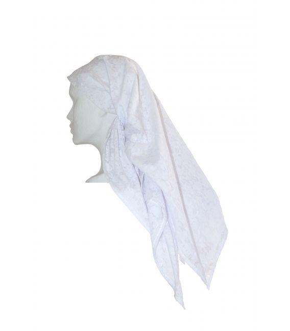 Pañuelo estampado - tul blanco con flores
