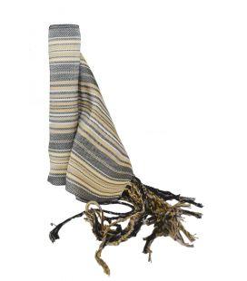 Faja Rayada Seda Negro - Marfil