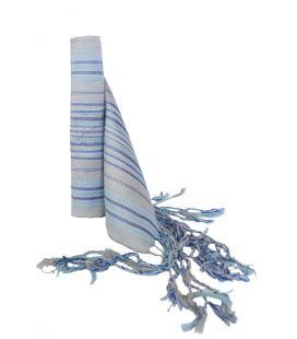 Faja Rayada Seda Azul - Gris