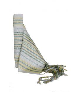 Faja Rayada Seda Gris - Verde - Marfil