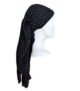 Pañuelo estampado - fondo negro/flor blanca