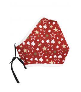 Mascarilla tela navidad estrellas roja